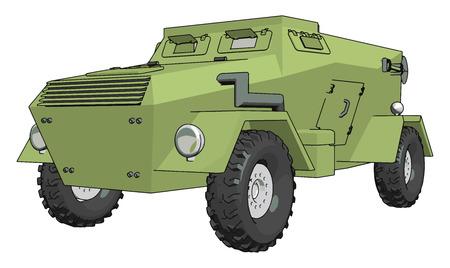 3D-Vektor-Illustration auf weißem Hintergrund eines grünen gepanzerten Militärfahrzeugs