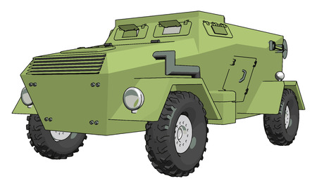 Illustration vectorielle 3D sur fond blanc d'un véhicule militaire blindé vert