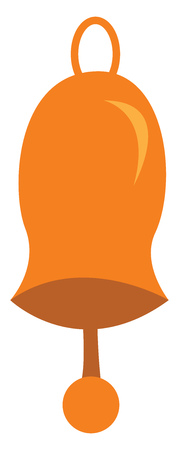 An illustration of an orange colored bell with a clapper vector color drawing or illustration  イラスト・ベクター素材