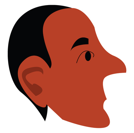 A portrait of a man with black hair and long curved pointed nose vector color drawing or illustration 向量圖像