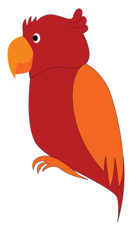 Red and orange parrot cartoon vector illustration on white background