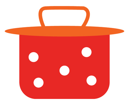 A red vessel closed on top with an orange lid vector color drawing or illustration