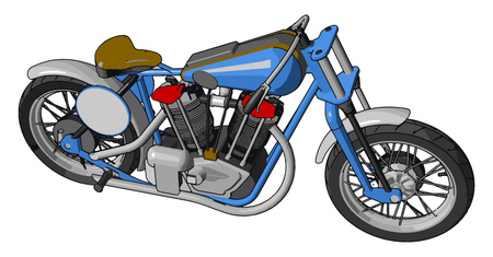 Blue and grey vintage motorcycle vector illustration on white background 일러스트