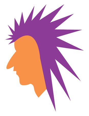 A minimalistic drawing of a man with long pointed purple mohawk vector color drawing or illustration