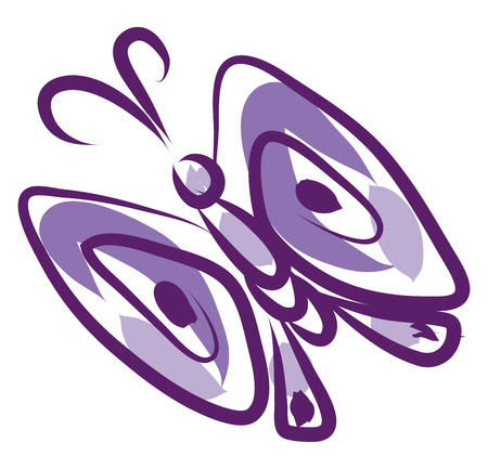 A purple butterfly with wings open vector color drawing or illustration