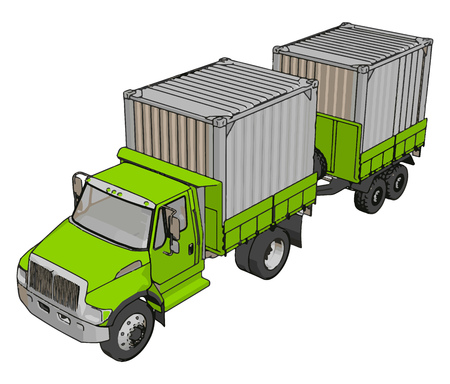 Green container truck with trailer vector illustration on white background