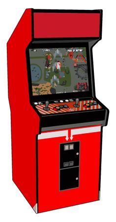 Vintage red video game vector illustration on white background Stock Illustratie