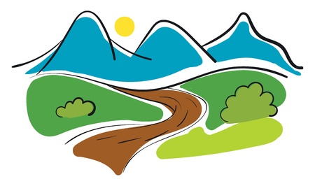 Simple panorama of a road and mountains vector illustration on white background
