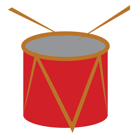 A red drum with yellow line design and drumsticks vector color drawing or illustration Illusztráció
