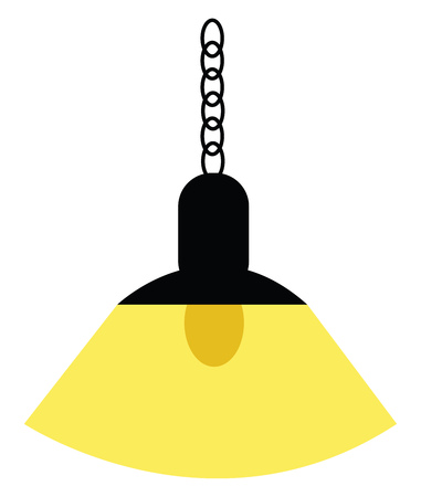A black hanging light lamp which is switched on vector color drawing or illustration Ilustração