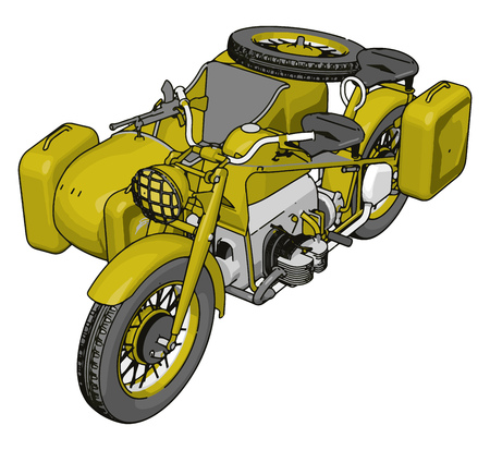 3D vector illustration on white background  of a military motorcycle with sidecar Illustration