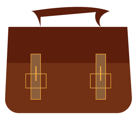 A brown flapover briefcase vector color drawing or illustration