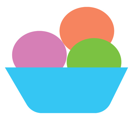 A bowl containing three scoops of ice cream vector color drawing or illustration