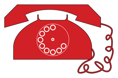 Vintage red telephone vector illustration on white background  イラスト・ベクター素材