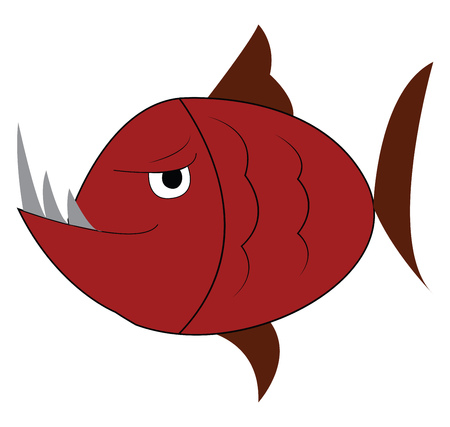 Angry fish with sharp long teeth vector or color illustration Foto de archivo - 123462999