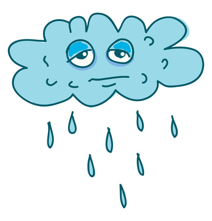 A cartoon of a stressed cloud raining vector color drawing or illustration Foto de archivo - 123463000