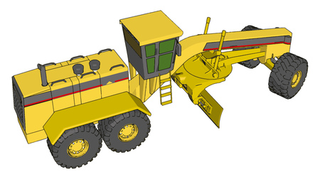 Yellow industrial grader vector illustration on white background Ilustrace