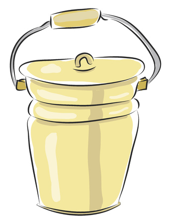 Light yellow metal bucket vector illustration on white background
