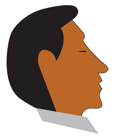 A man with brown skin tone whose eyes are closed vector color drawing or illustration Imagens - 123463014