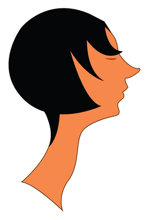 A black haired girl with an unusually long neck and a pointed nose vector color drawing or illustration