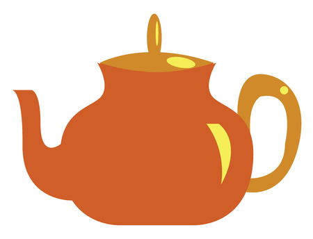 A orange tea pot with a yellow handle vector color drawing or illustration Ilustrace