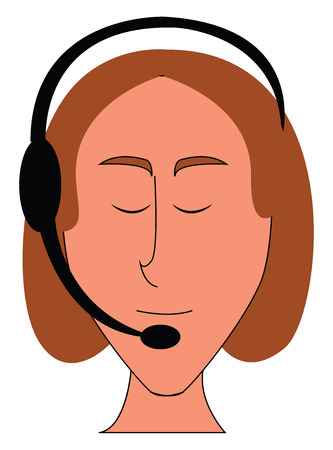 Female operatior with headphones simple vector illustration on white background
