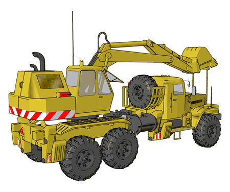 3D vector illustration of yellow big excavator machine on white background