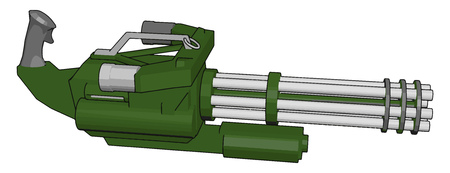 3D vector illustration on white background  of a military machine gun Illusztráció