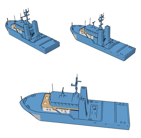 Simple cartoon of three blue navy battle ships vector illustration on white background Ilustração
