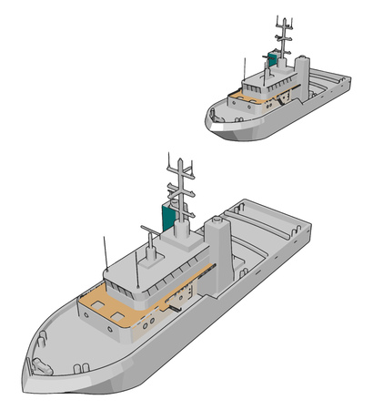 Vector illustration of two white navy battle ships white background