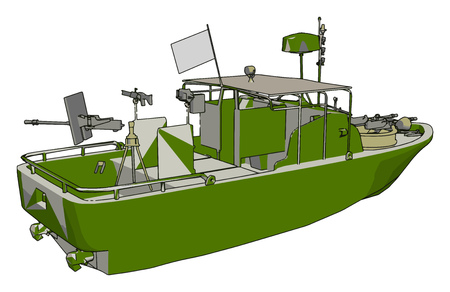 3D vector illustration on white background  of a military coast guard boat Stock Illustratie