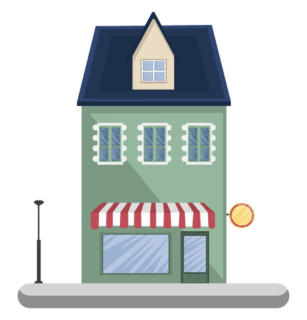 Cartoon green building with blue roof vector illustartion on white background Illustration