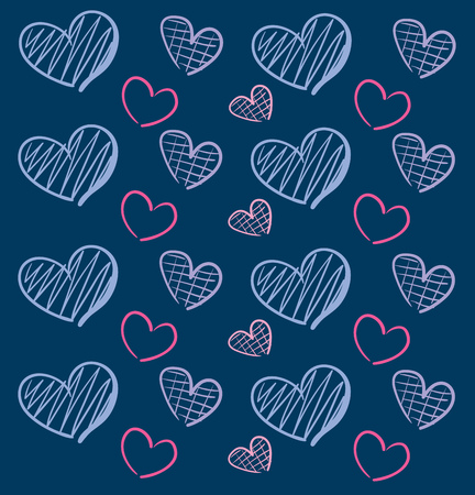 Different size and colour hearts on blue backround illustration vector on blue background