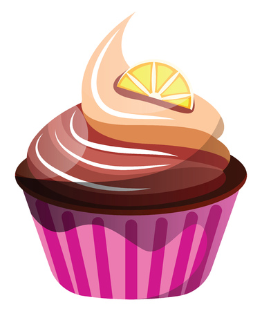 Chocolate-orange cupcake illustration vector on white background