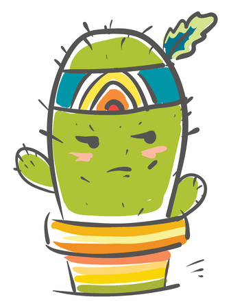 Cactus plant with designer head decoration vector or color illustration