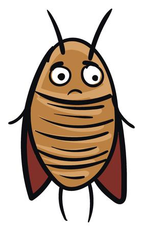 Sad brown cockroach vector illustration on white background Vector Illustration