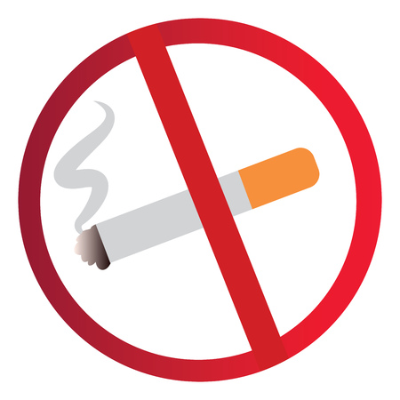 Vector illustration of a no smoking sign on a white background