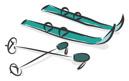 Simple cartoon of a pair of blue snowskis vector illustration on white background