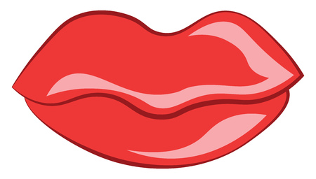 Lip wearing red lipstick vector or color illustration