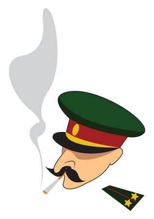 Smoking army officer vector or color illustration