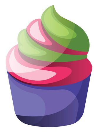 Colorful cupcake illustration vector on white background