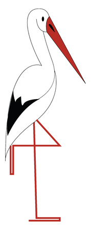 A white Stroke bird vector or color illustration