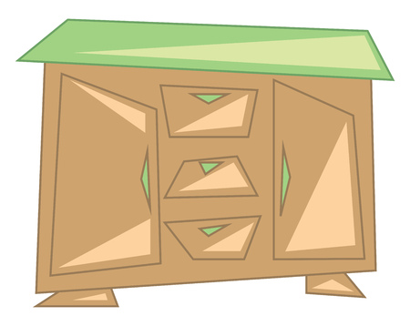 Wooden side board to store goods vector or color illustration