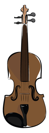 Violin a string musical instrument vector or color illustration