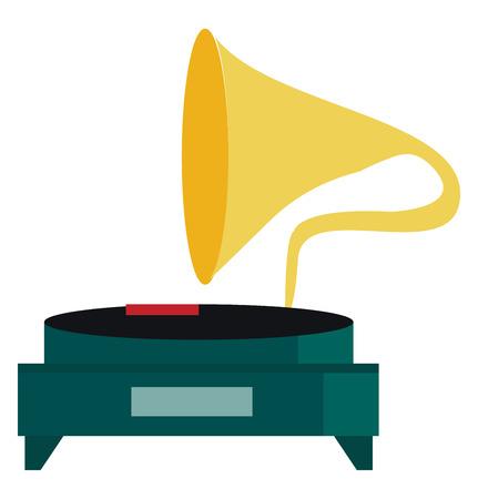 A vintage gramophone instrument vector or color illustration