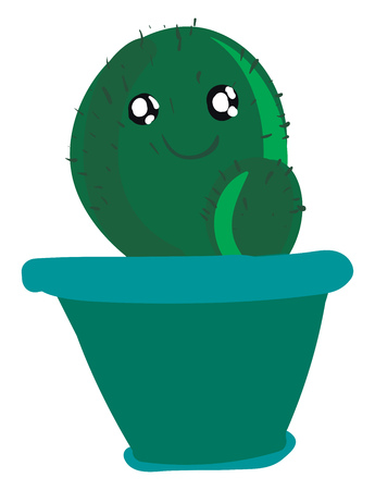 A happy cactus in blue pot vector or color illustration