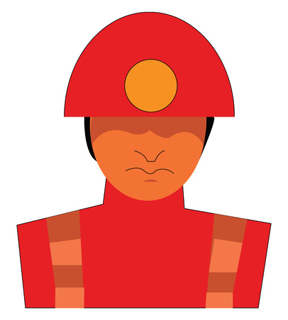 A miner with hardhat vector or color illustration