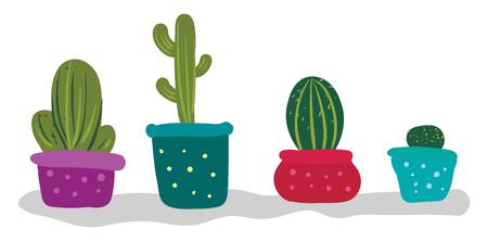 Cactus for indoor decoration vector or color illustration Illustration