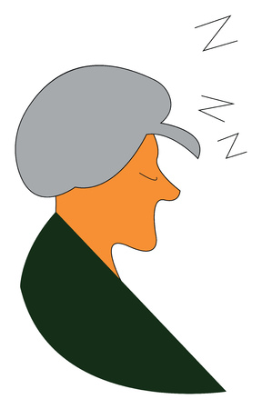 Sleeping old woman vector or color illustration