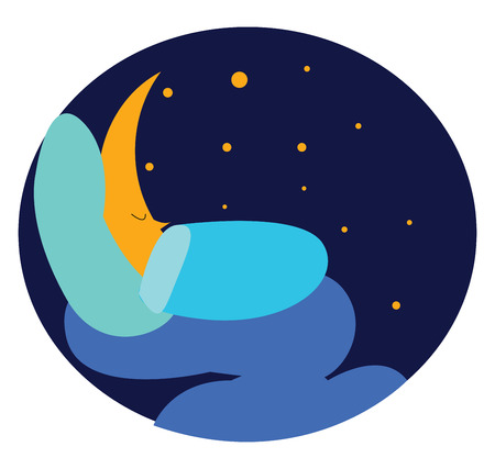Moon is sleeping under blue sky vector or color illustration Ilustração